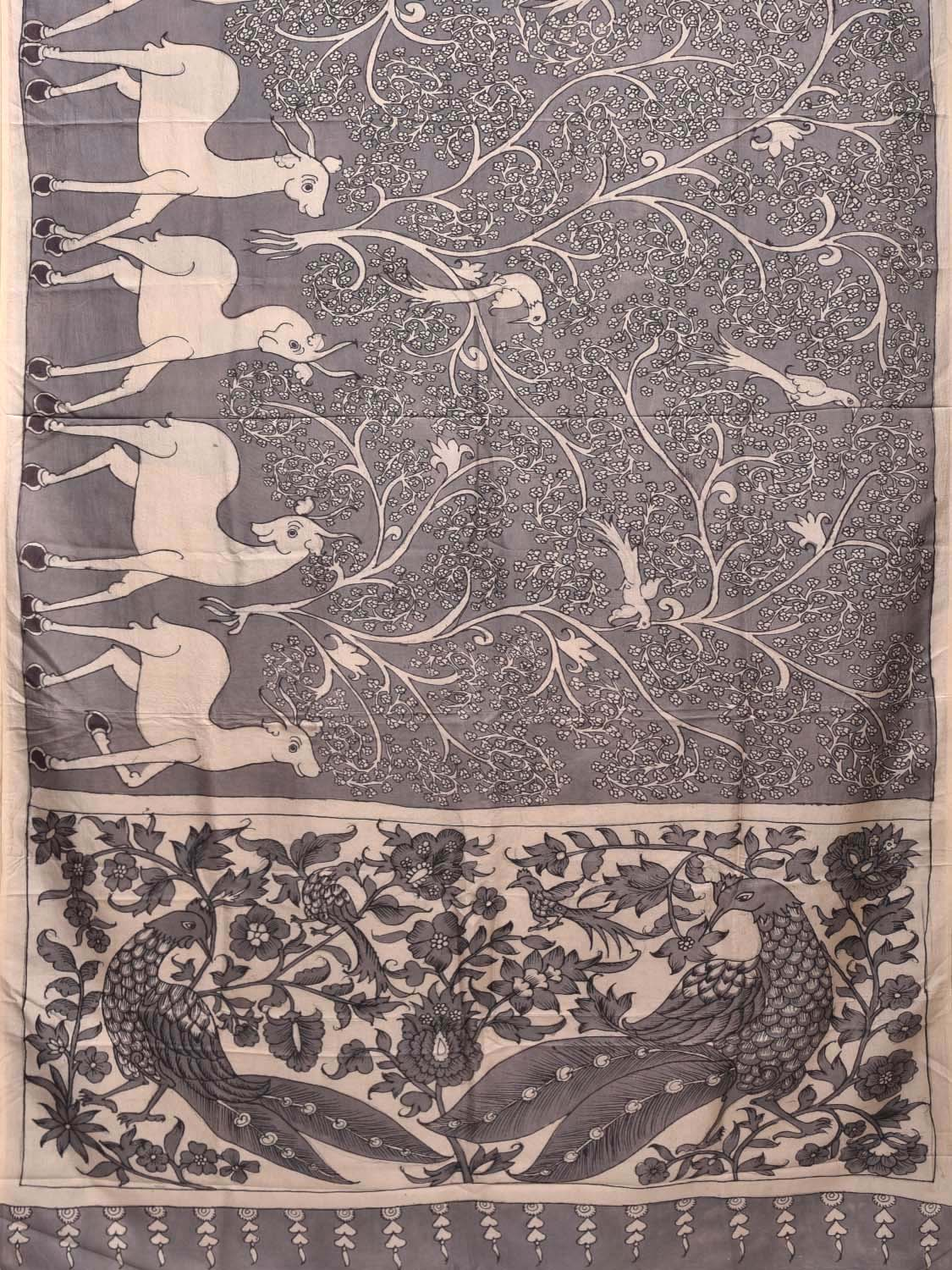 Grey Kalamkari Hand Painted Silk Handloom Saree with Deers Design KL0257