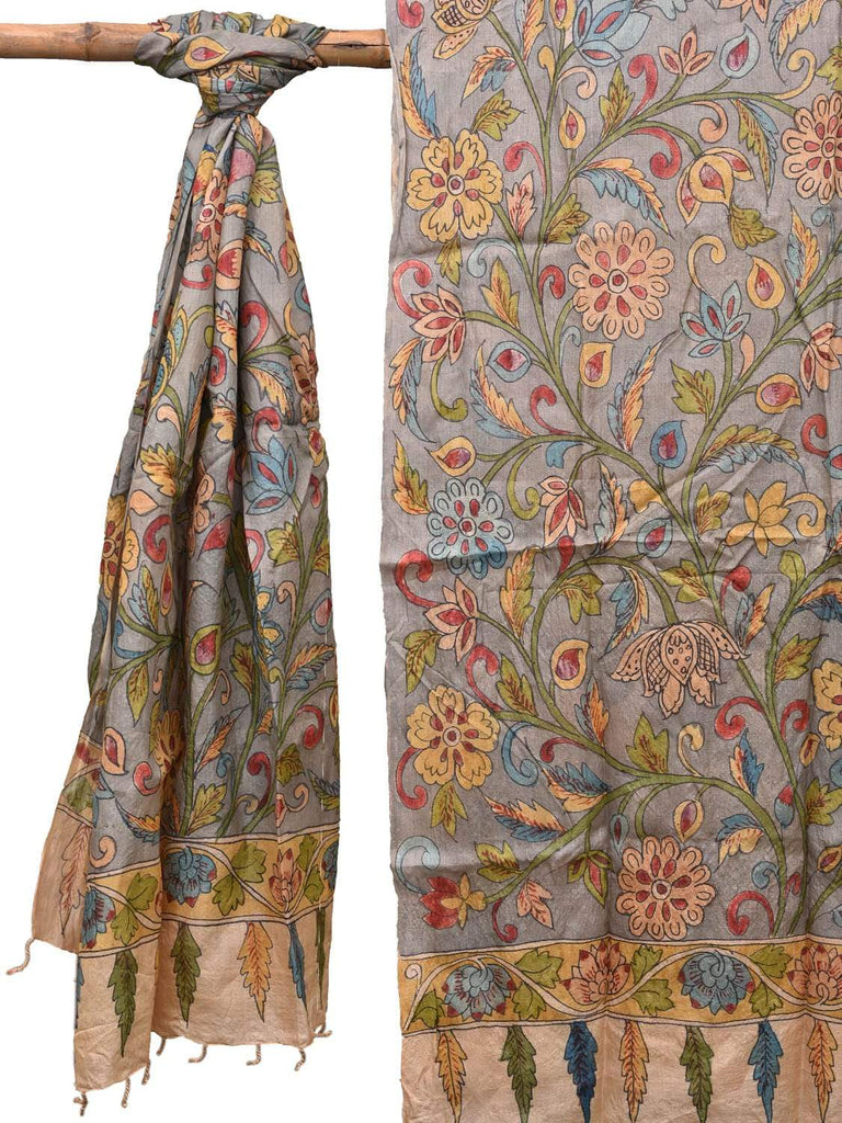 Grey Kalamkari Hand Painted Tussar Handloom Dupatta with Flowers Design ds2150
