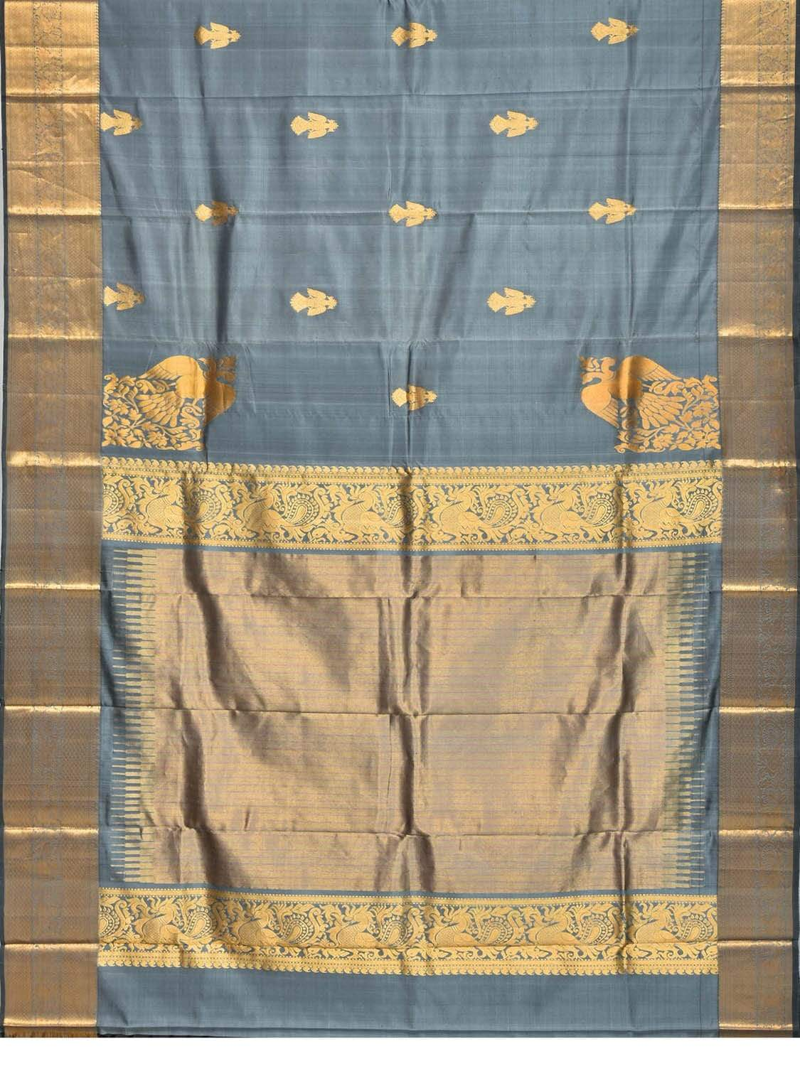 Grey Kanchipuram Silk Handloom Saree with Corner and Buta Gandaberunda Design k0476