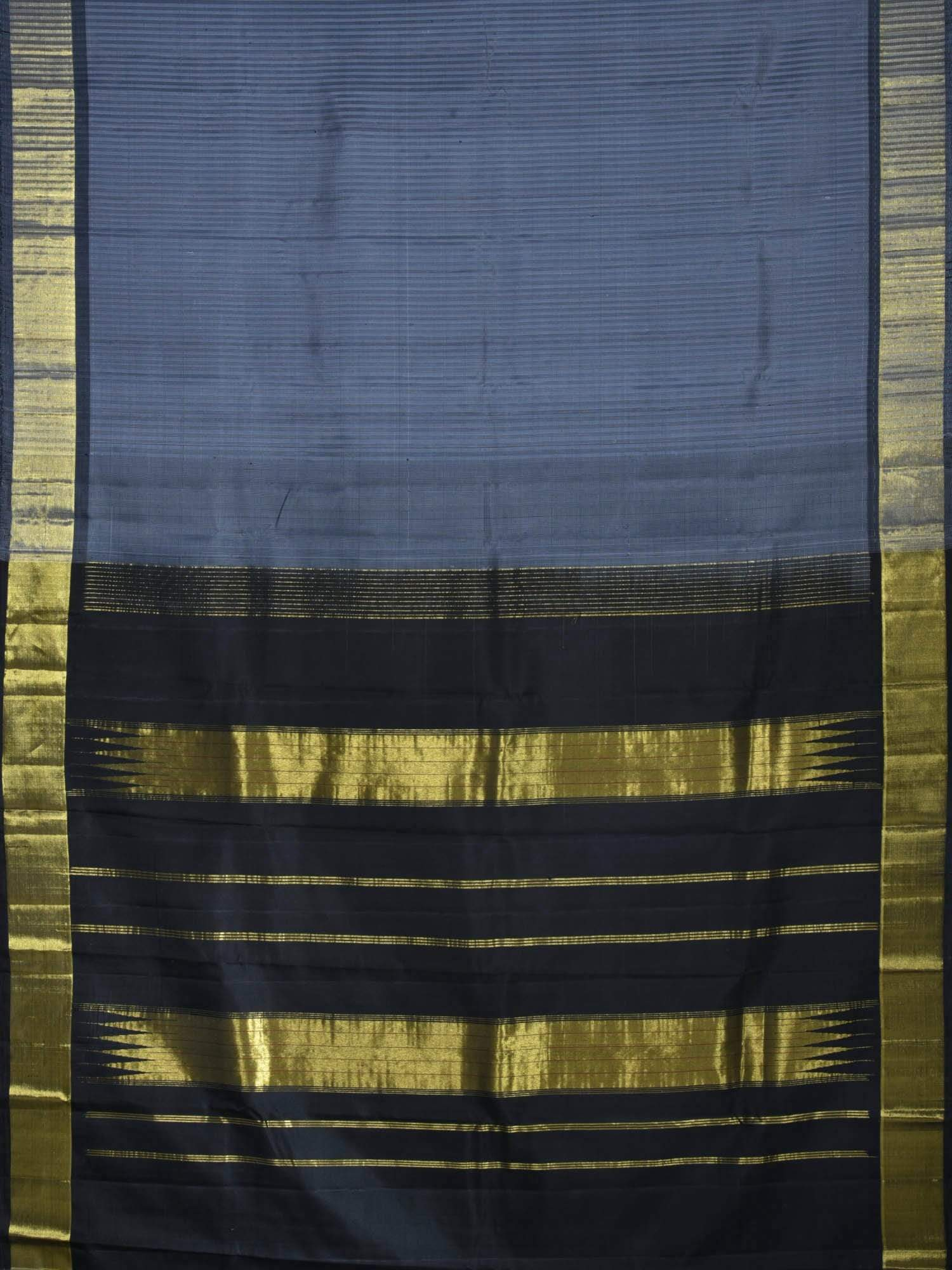 Grey Kanchipuram Silk Handloom Saree with Strips Design K0379