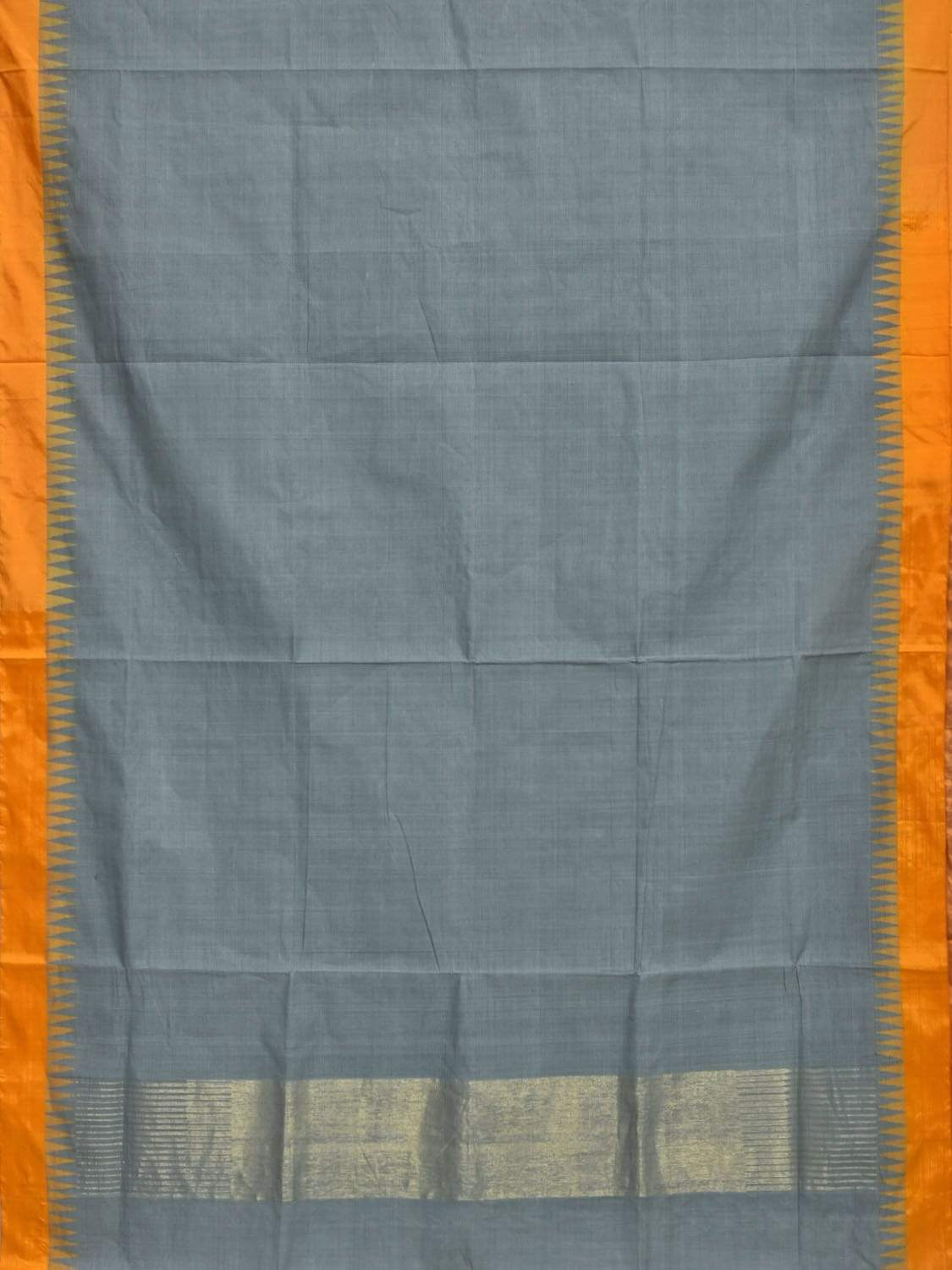Grey Khadi Cotton Handloom Saree with Silk Temple Border Design Kh0442