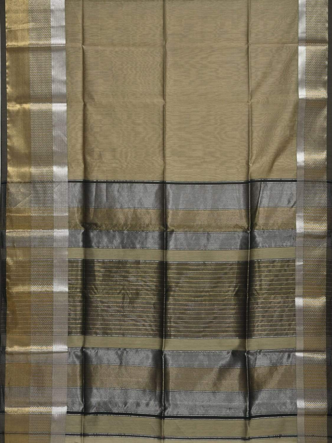Grey Maheshwari Cotton Silk Handloom Plain Saree with One Side Big Border Design m0112