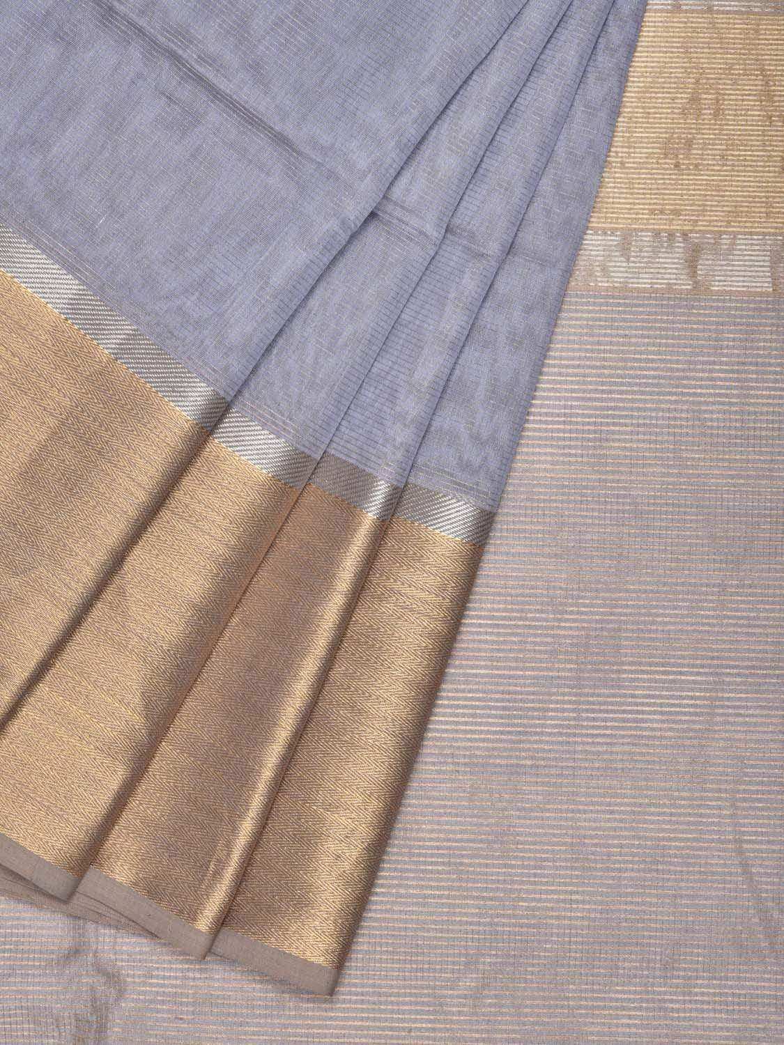Grey Maheshwari Cotton Silk Handloom Saree with One Side Big Border M0080