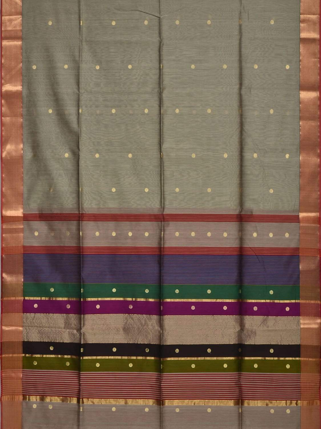 Grey Maheshwari Cotton Silk Handloom Saree with Small Buta Design m0105
