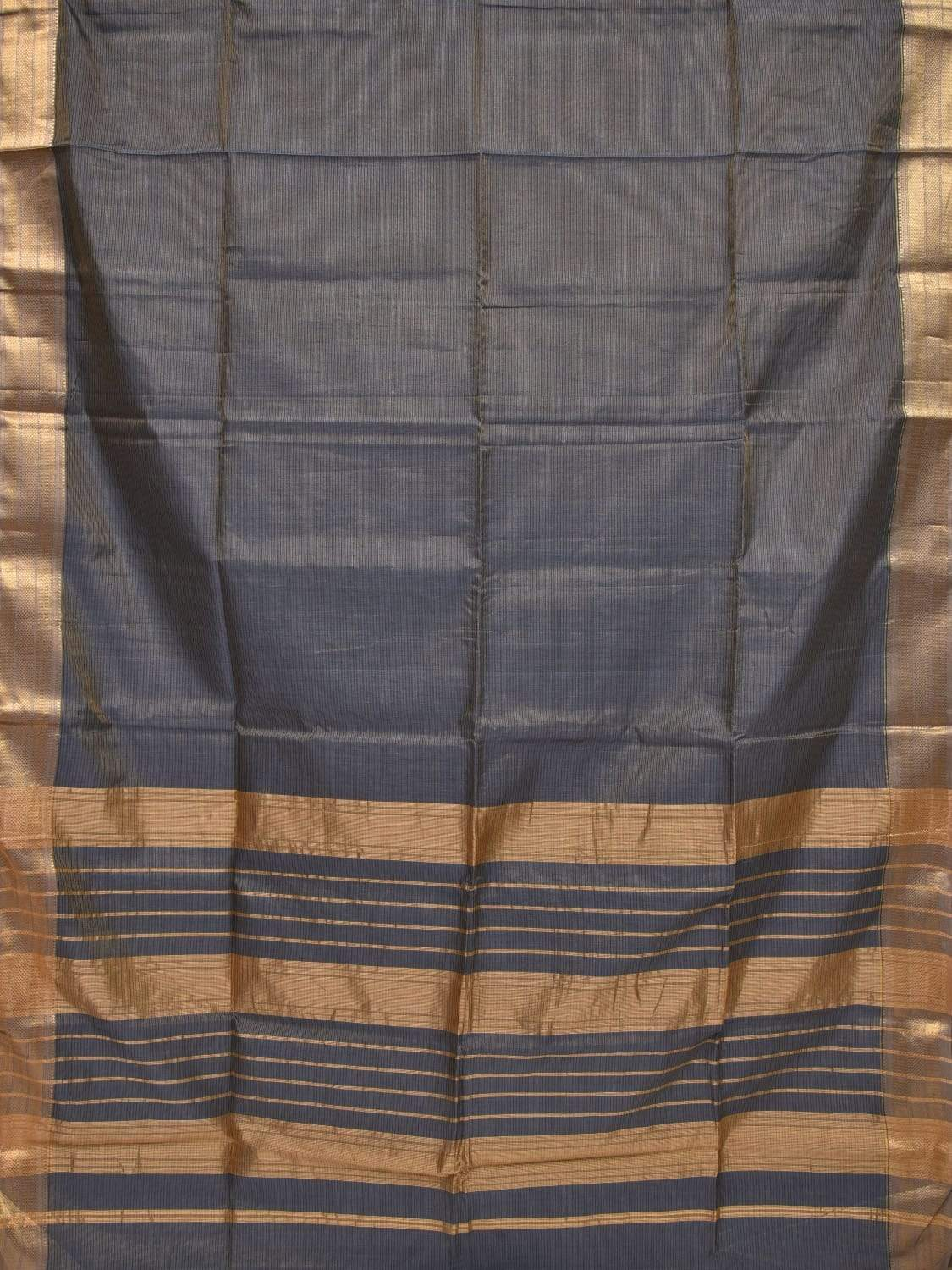 Grey Maheshwari Cotton Silk Handloom Saree with Strips Pallu Design m0117