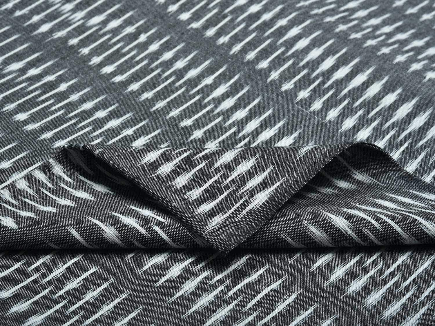 Grey Pochampally Ikat Cotton Handloom Fabric Material with Fence Design f0147