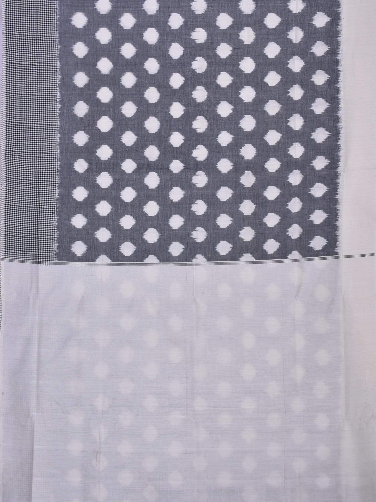 Grey Pochampally Ikat Cotton Handloom Saree with Polka Dots Design i0474