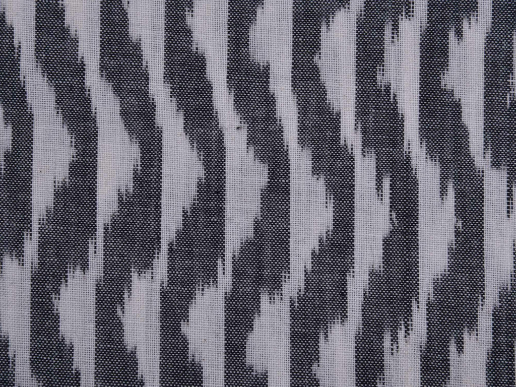 Grey Pochampally Single Ikat Cotton Handloom Fabric With Wave Design F0060