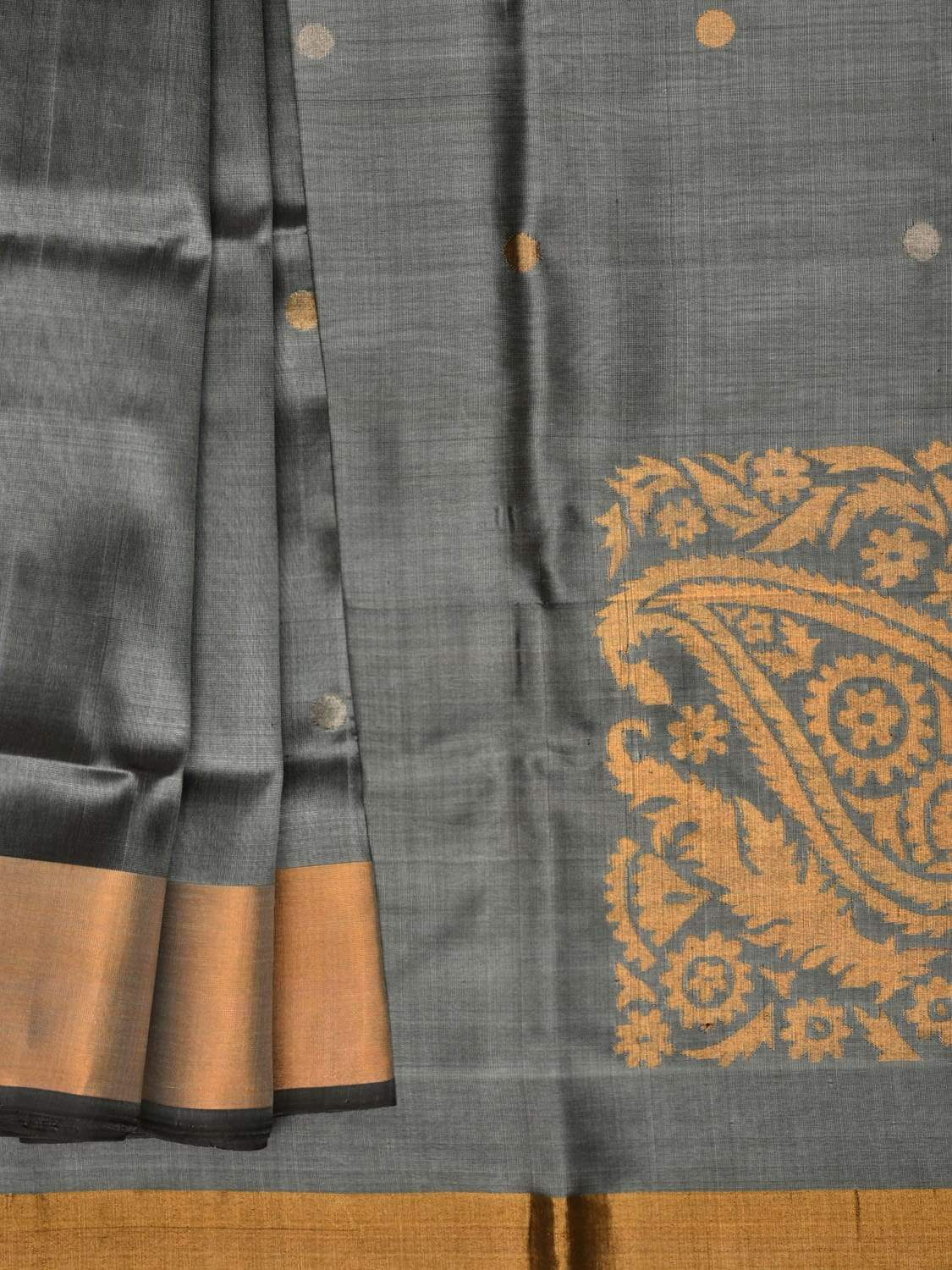 Grey Uppada Silk Handloom Saree with Corner Mango Pallu Design u1593