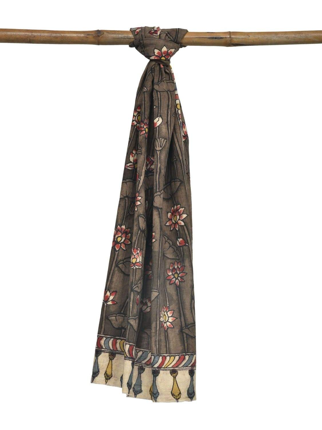 Khaki Kalamkari Hand Painted Cotton Handloom Stole with Lotus Flowers Design ds1918
