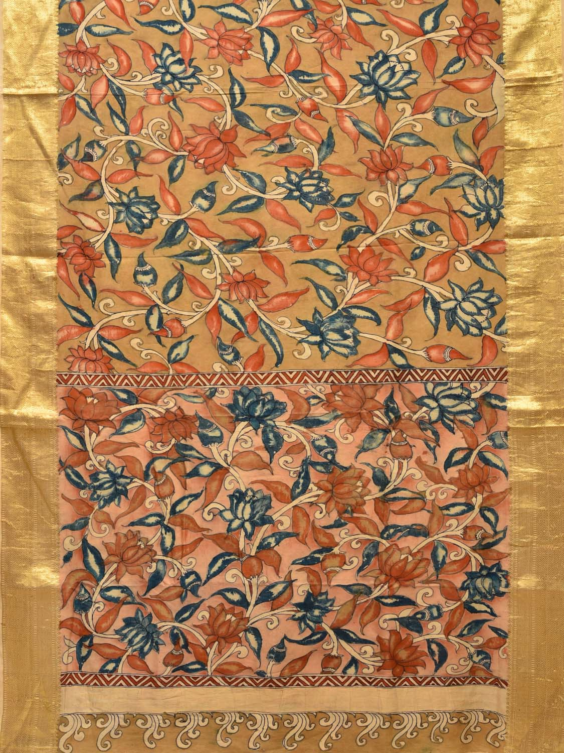 Khaki Kalamkari Hand Painted Kanchipuram Silk Handloom Saree with All Over Leaves and Lotus Flowers Design KL0214