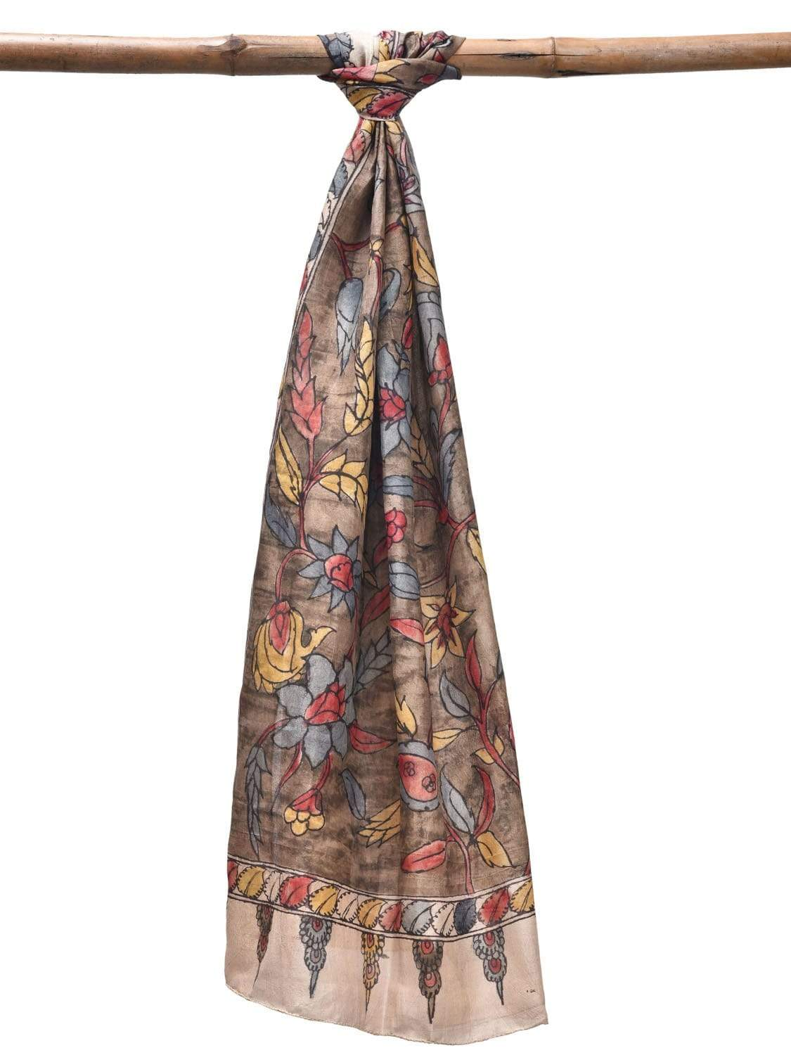 Khaki Kalamkari Hand Painted Silk Stole with Floral Design ds1914