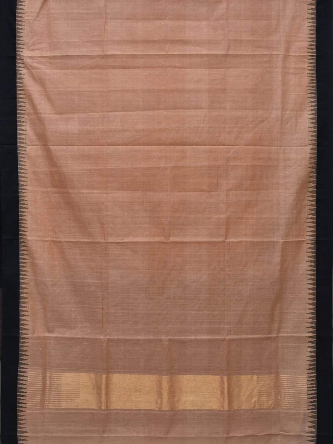 Khaki Khadi Cotton Handloom Plain Saree with Temple Border Design kh0472