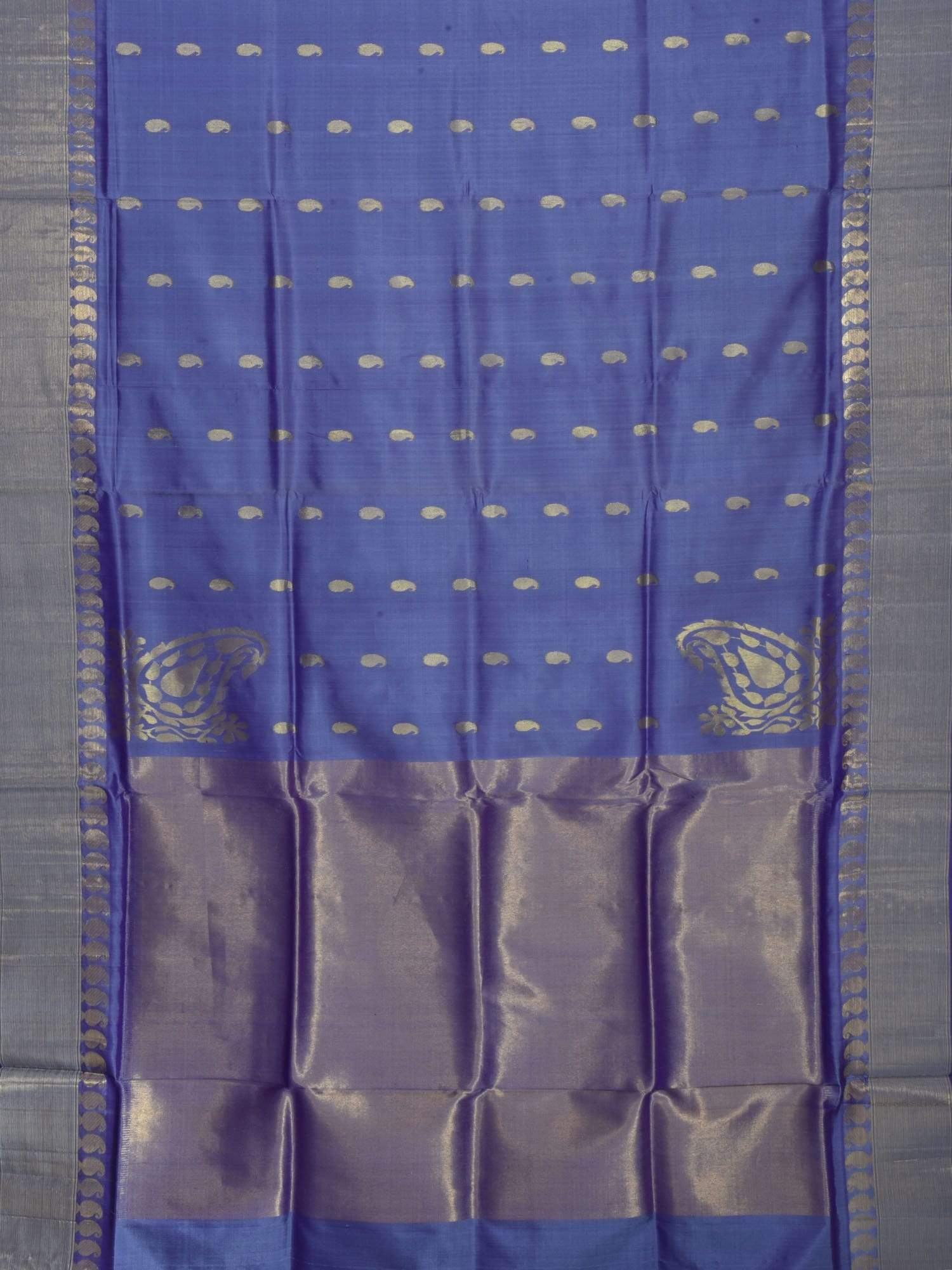 Lavender Kanchipuram Silk Handloom Saree with Corner Mango Design K0302