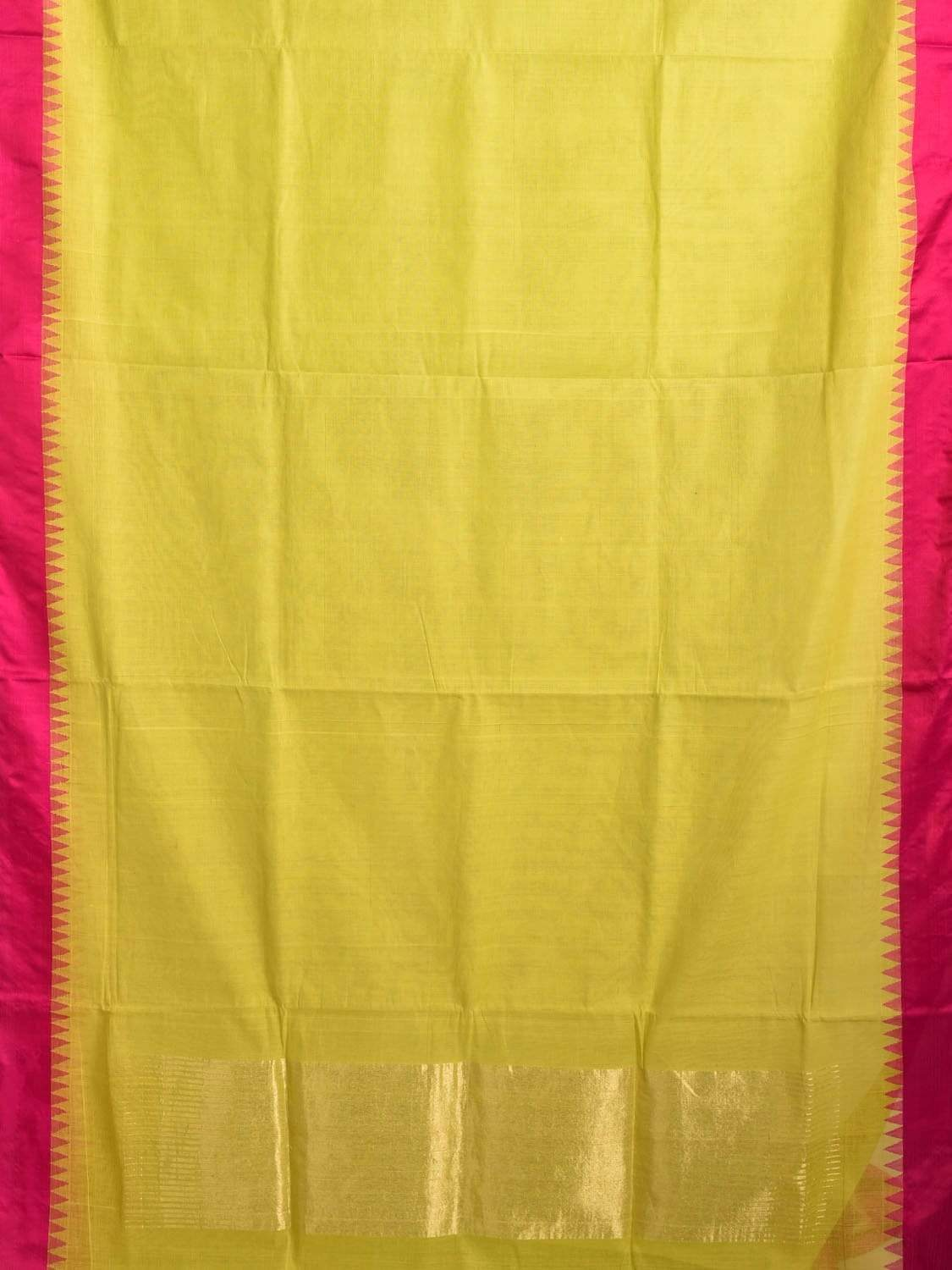 Lemon Green Khadi Cotton Handloom Plain Saree with Silk Temple Border kh0466