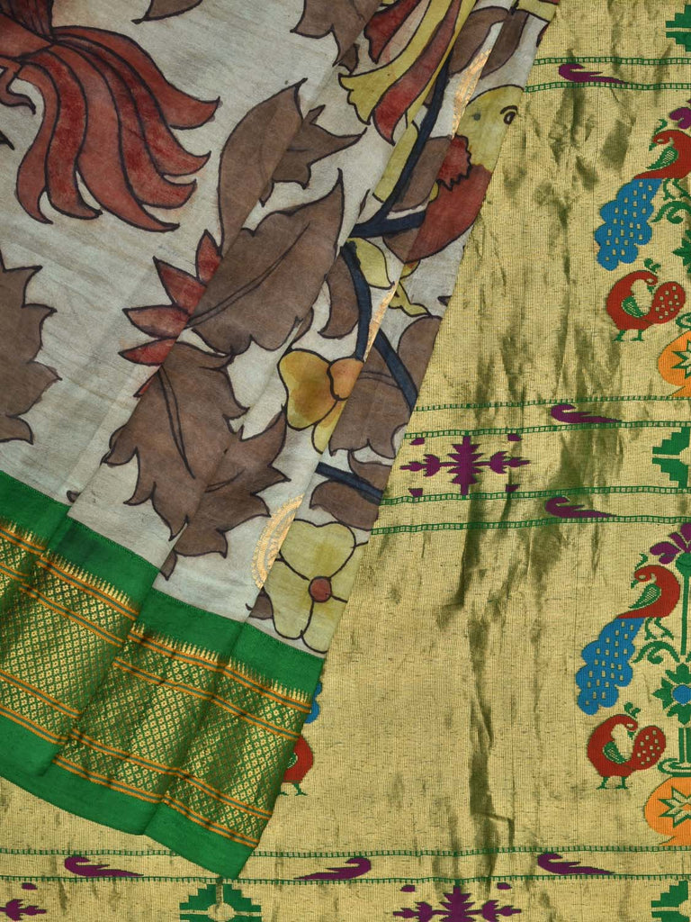 Light Blue and Green Kalamkari Hand Painted Paithani Silk Handloom Saree with Flowers and Birds Design KL0282