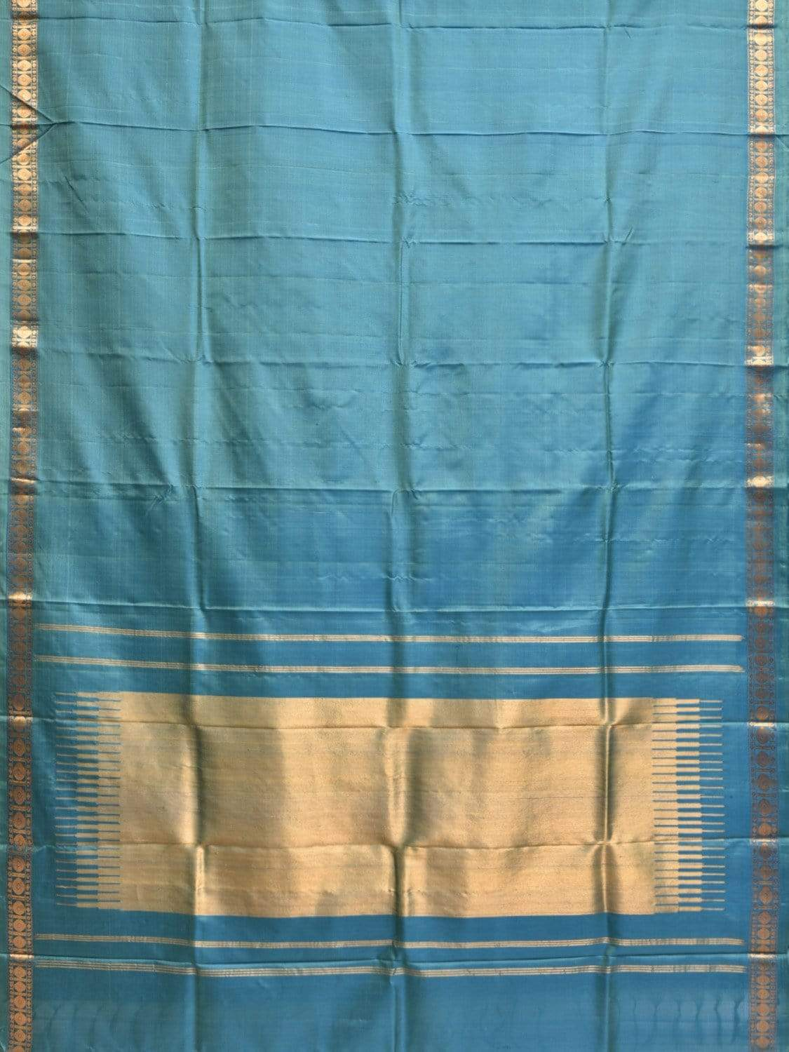 Light Blue Gadwal Silk Handloom Saree with Border Design g0247