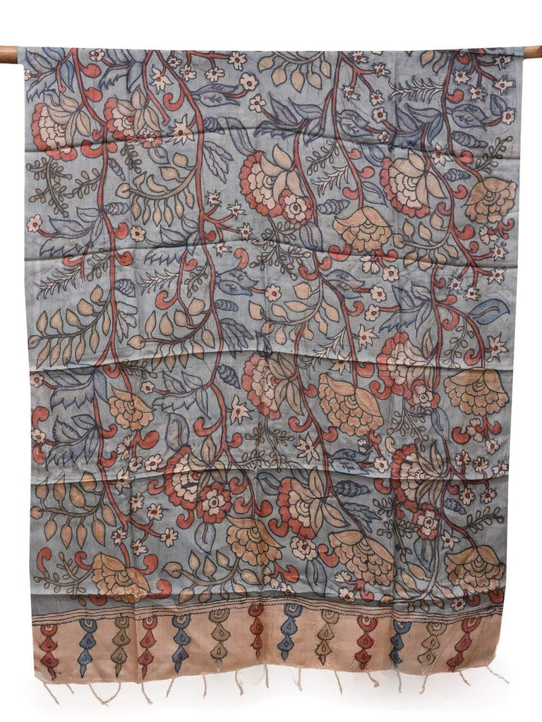 Light Blue Kalamkari Hand Painted Tussar Dupatta with Flowers Design ds2111