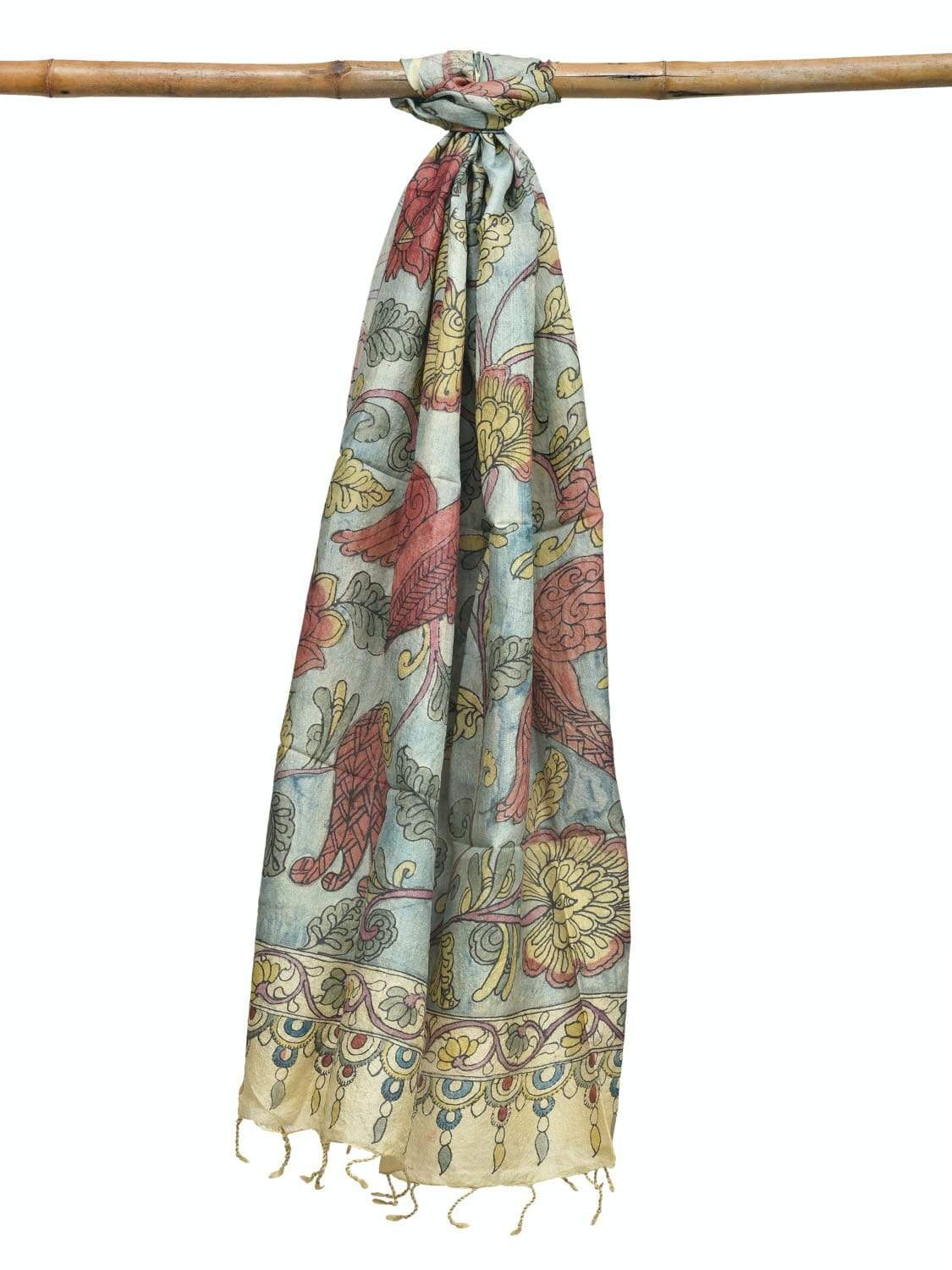 Light Blue Kalamkari Hand Painted Tussar Handloom Dupatta with Exotic Flowers and Birds Design ds1929