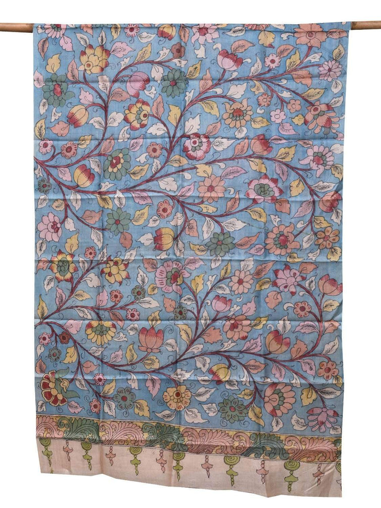 Light Blue Kalamkari Hand Painted Tussar Handloom Dupatta with Flowers and Leaves Design ds2090