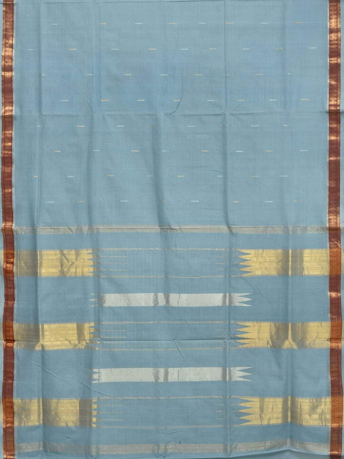 Light Blue Khadi Cotton Handloom Saree with Doby Border Design No Blouse kh0456