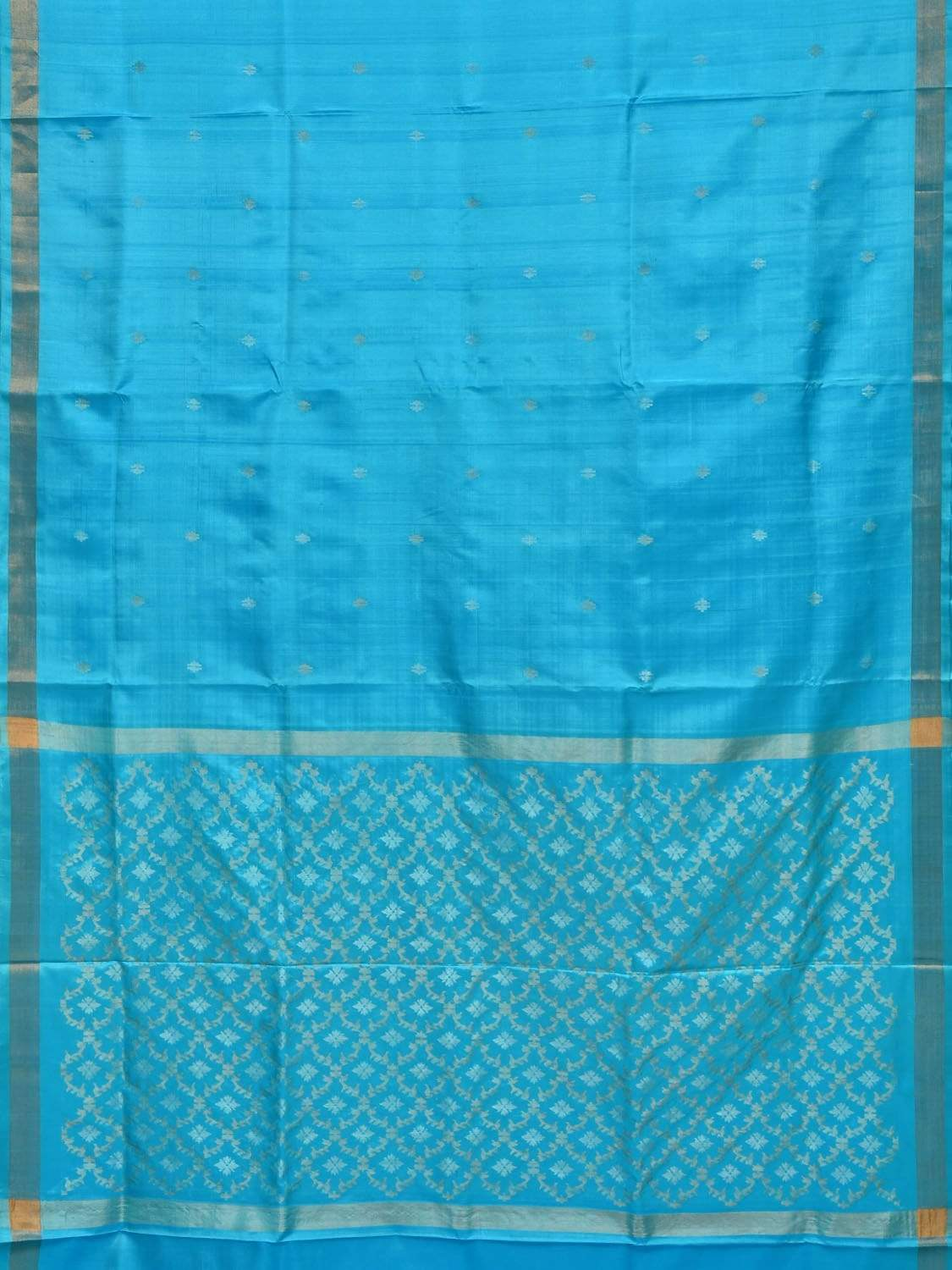 Light Blue Uppada Silk Handloom Saree with Jamdani Pallu Design u1582
