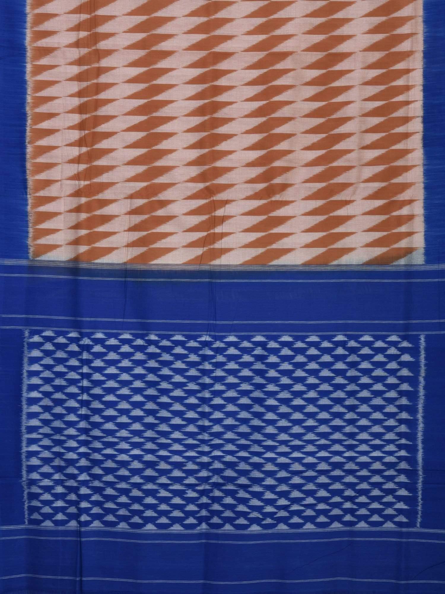 Light Brown and Blue Pochampally Ikat Cotton Handloom Saree with Triangle Pallu Design i0428