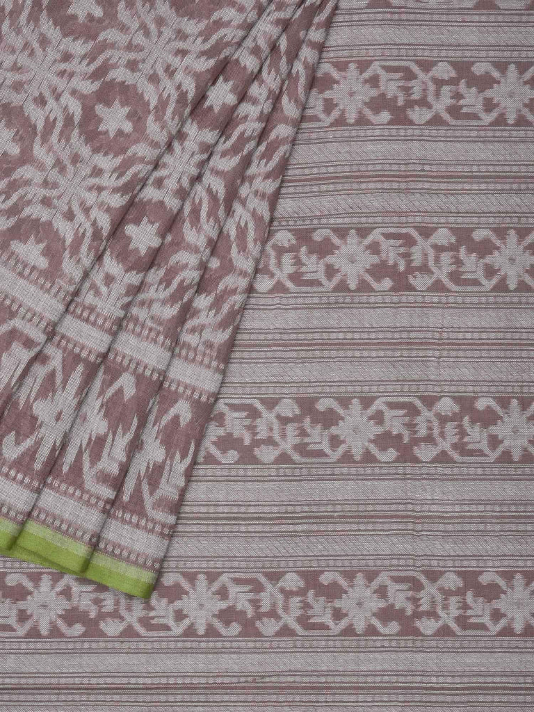 Light Brown Banaras Cotton Handloom Saree with All Over Grill Design b0275