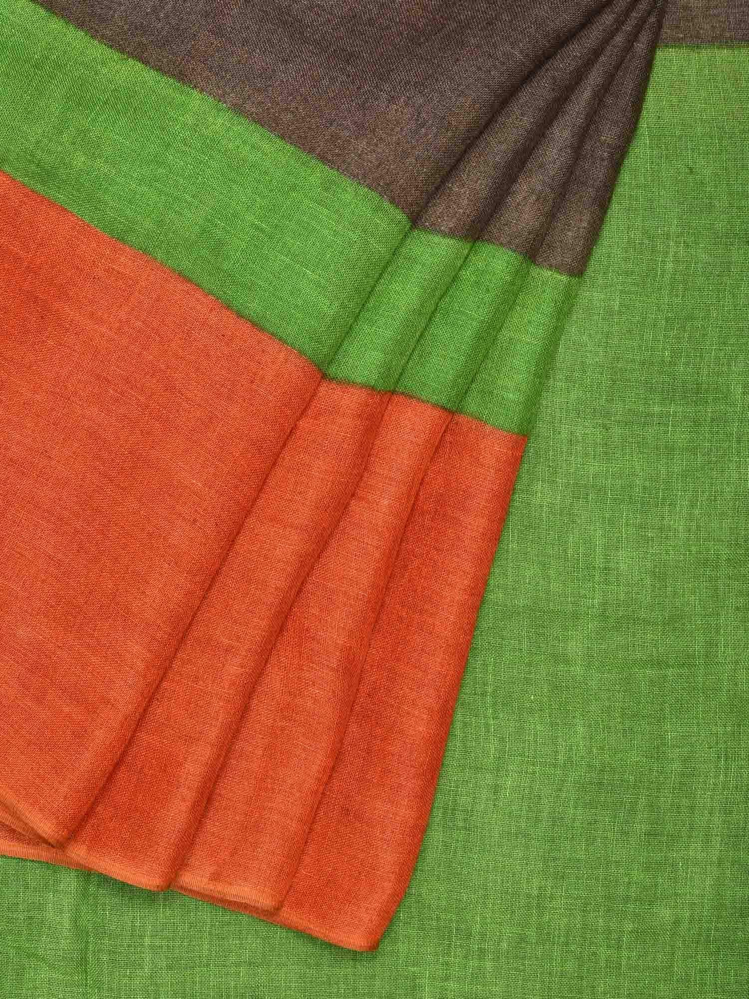 Light Brown Linen Handloom Plain Saree with One Side Big Border L0090