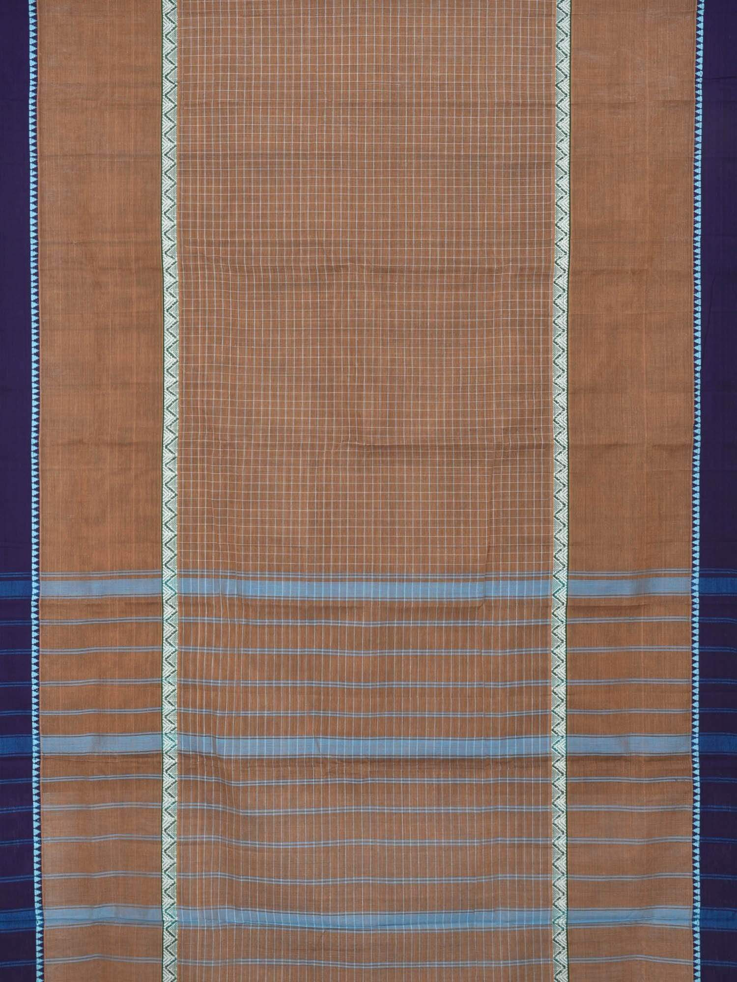 Light Brown Narayanpet Cotton Handloom Saree with Checks Design No Blouse np0211