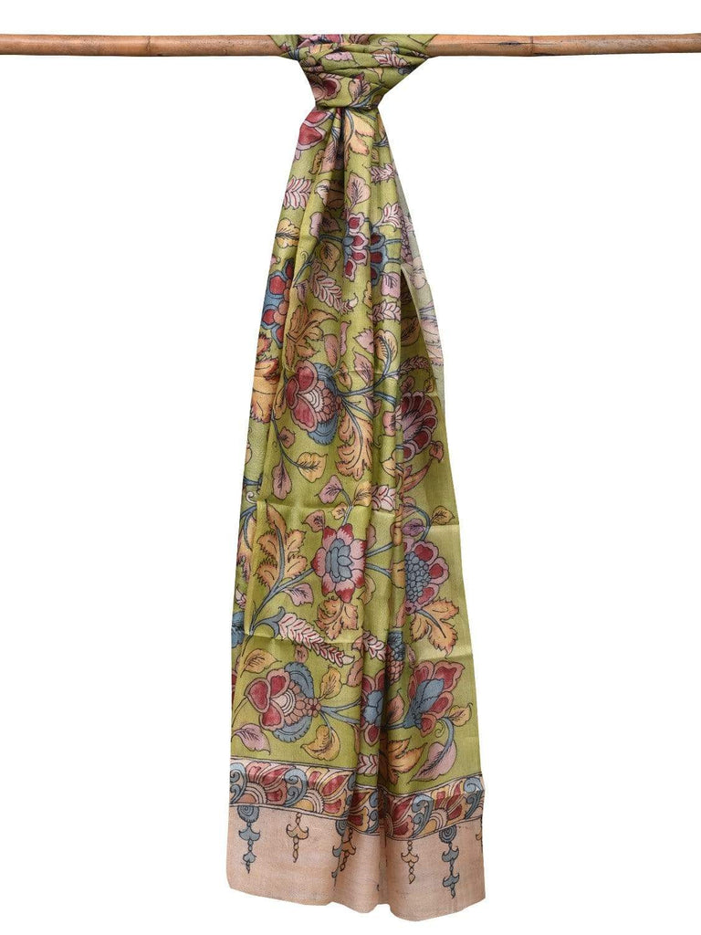 Light Green Kalamkari Hand Painted Tussar Handloom Dupatta with Flowers and Leaves Design ds2089