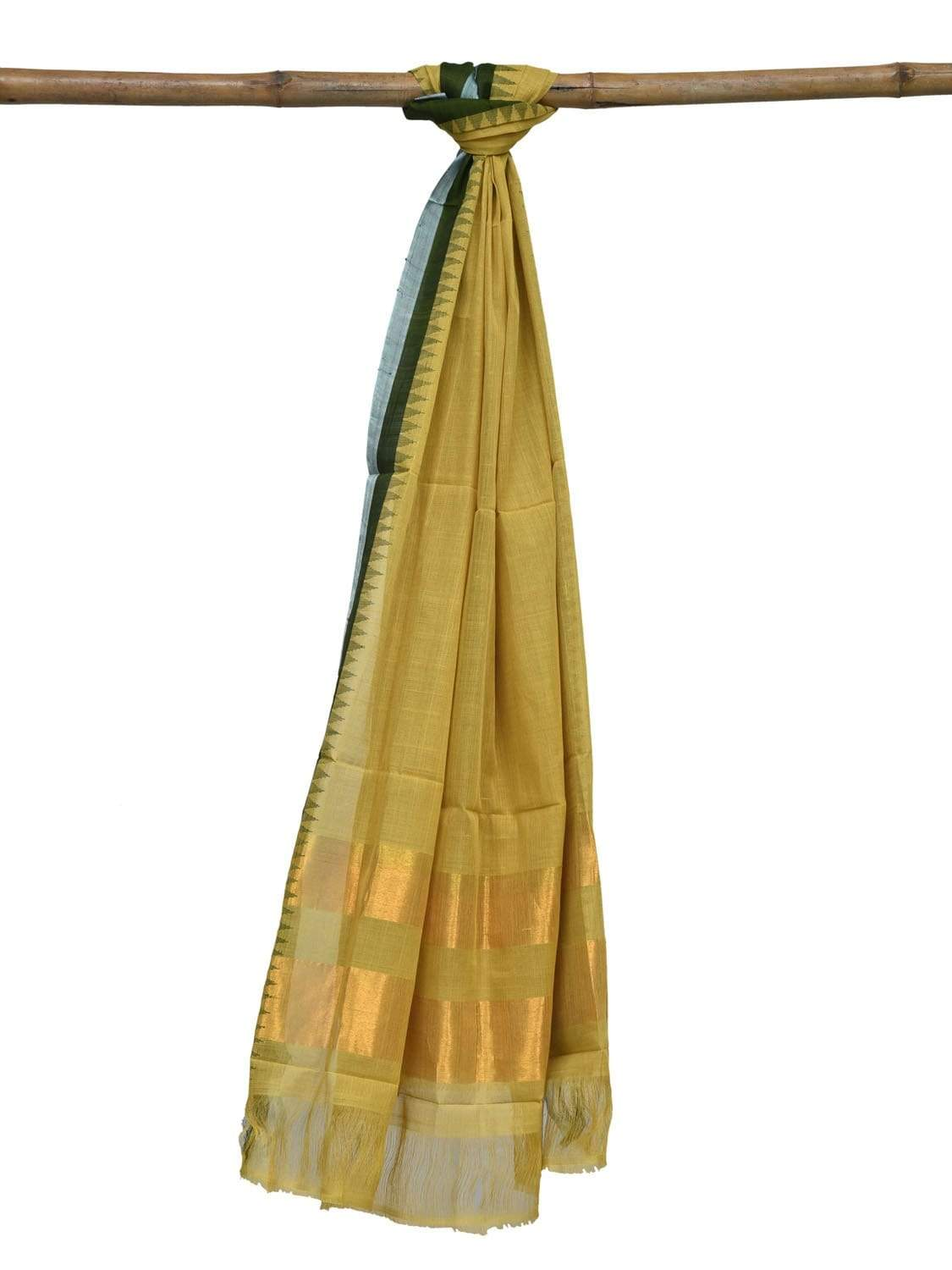 Light Green Khadi Cotton Handloom Dupatta with Silk Border Design ds1884