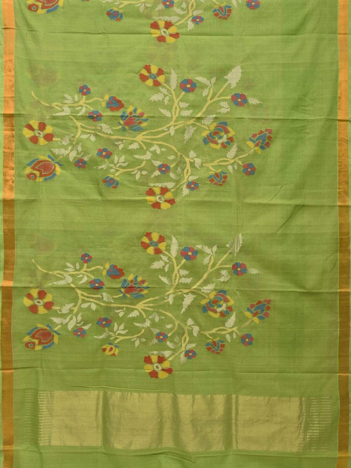 Light Green Khadi Cotton Handloom Saree with All Over Flower Plants Design kh0477