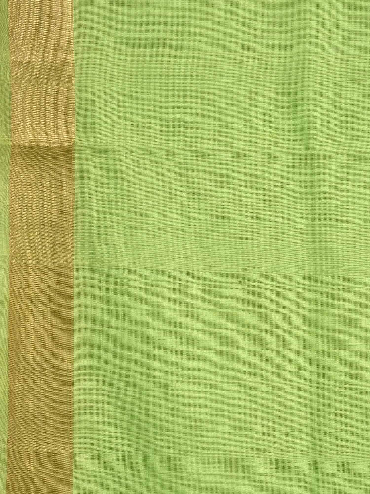 Light Green Khadi Cotton Handloom Saree with Assorted Buta Pallu Design kh0382