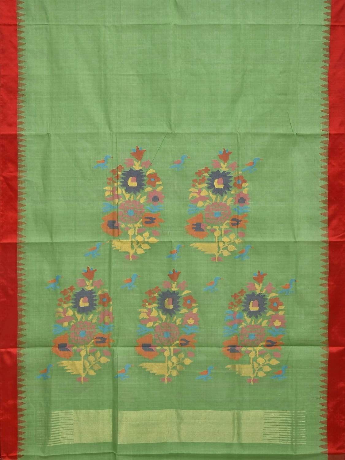 Light Green Khadi Cotton Handloom Saree with Silk Border and Pallu Design Kh0462