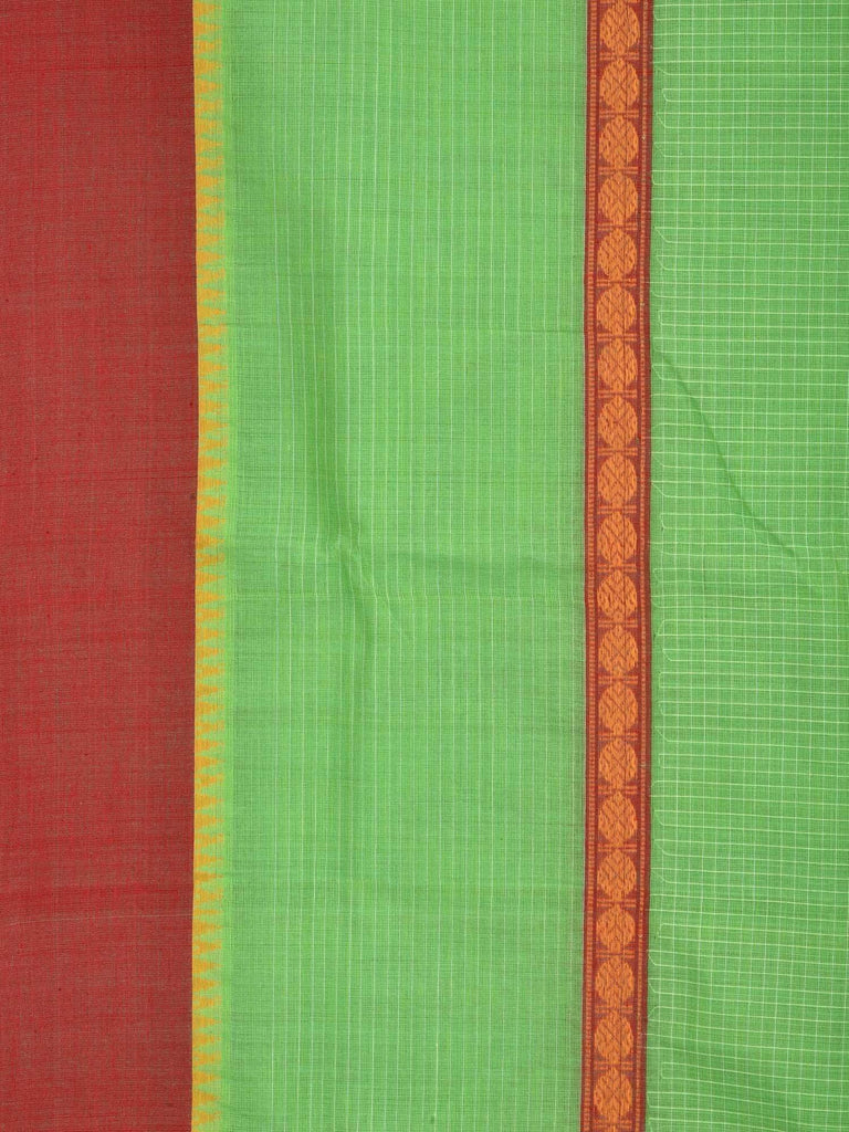 Light Green Narayanpet Cotton Handloom Saree with Checks Design No Blouse np0214