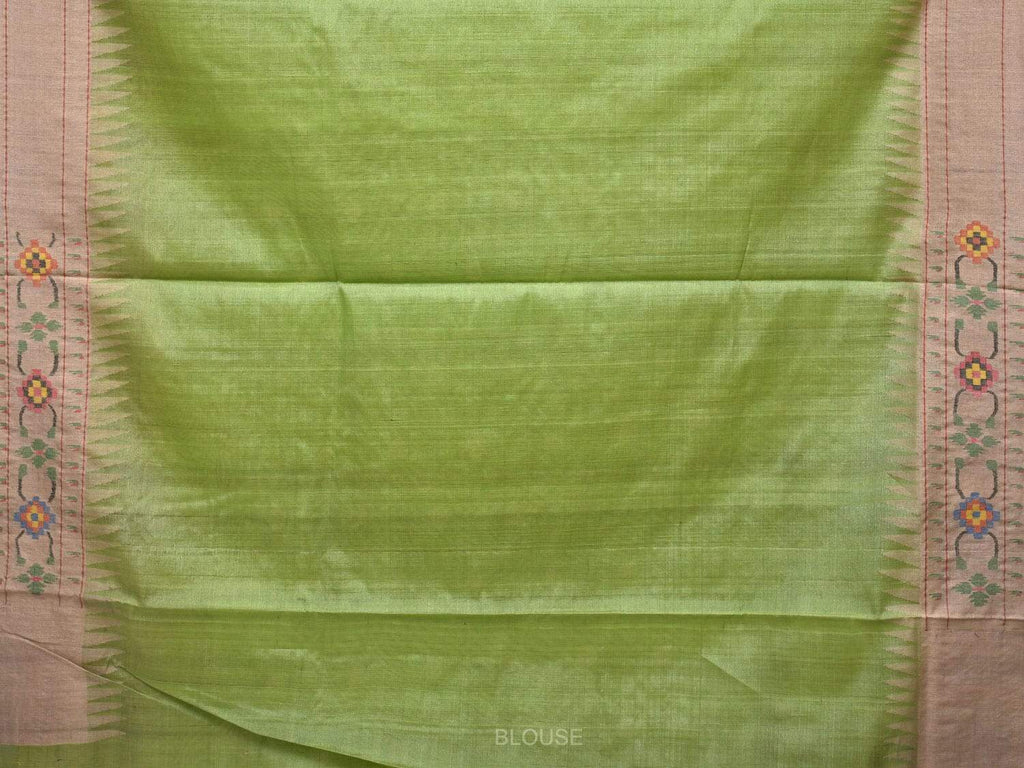 Light Green Paithani Cotton Handloom Saree with Body Buta and Border Design p0343