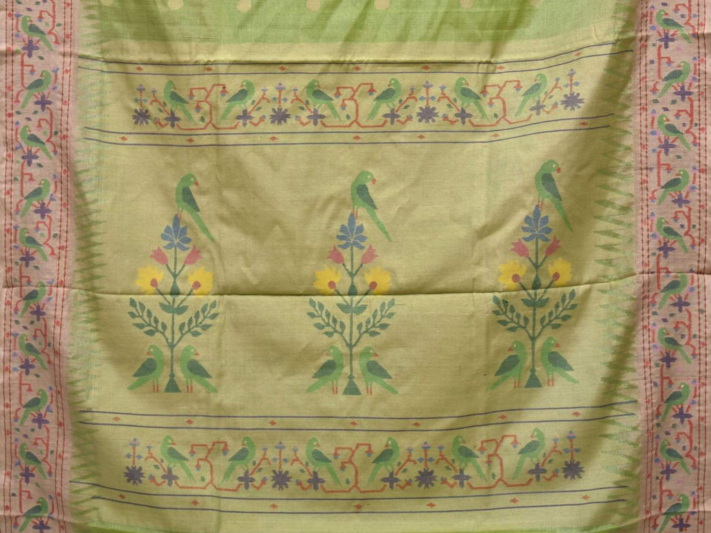 Light Green Paithani Tussar Handloom Saree with Parrot Border Design p0341