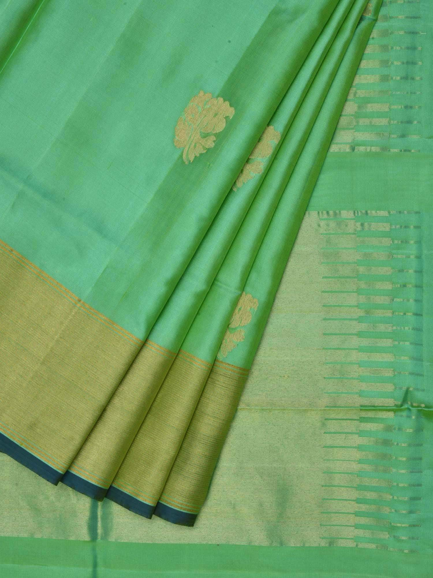 Light Green Uppada Silk Handloom Saree with All Over Nilambari Buta Design U1415
