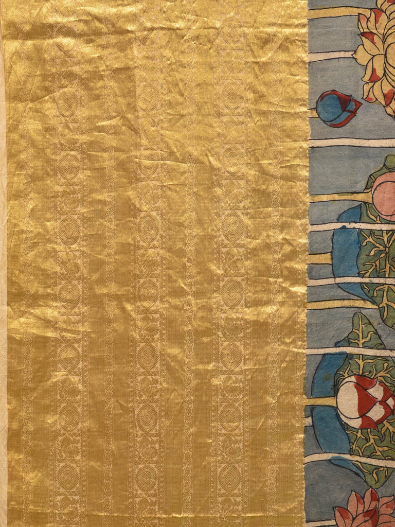 Light Grey Kalamkari Hand Painted Kanchipuram Silk Handloom Saree with Lotus Flowers and Big Border Design KL0293