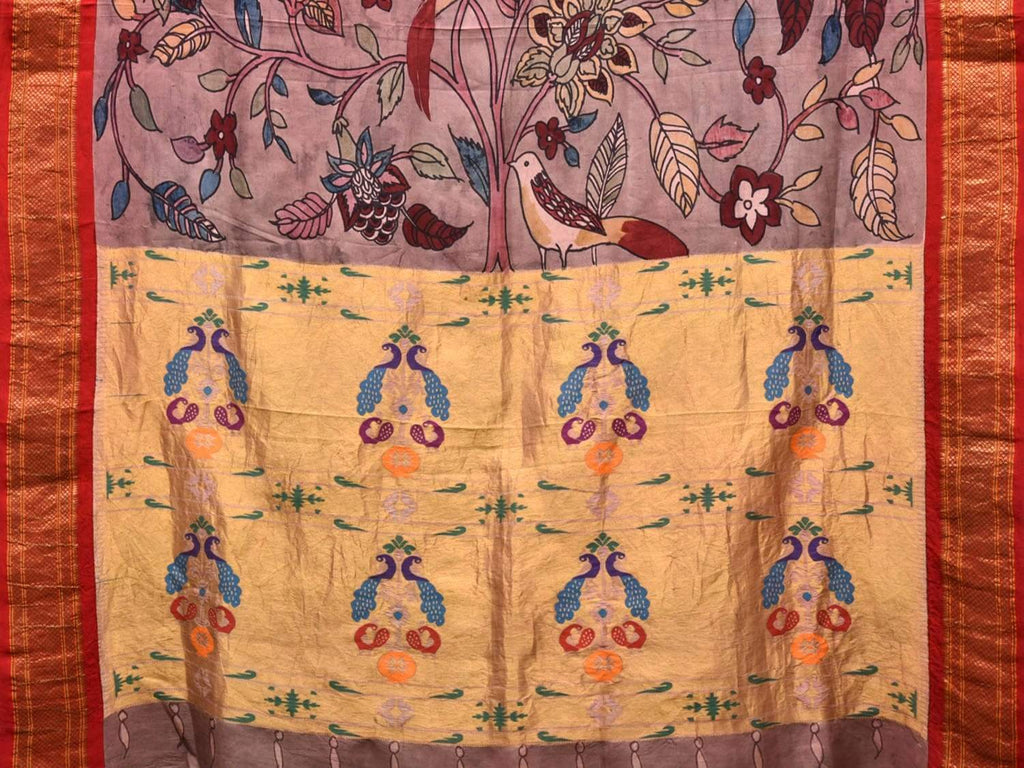 Light Grey Kalamkari Hand Painted Paithani Silk Handloom Saree with Birds and Floral Design KL0392