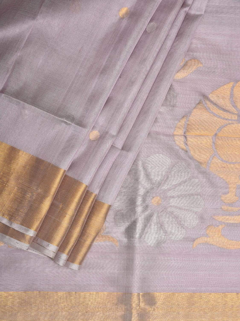 Light Grey Uppada Silk Handloom Saree with Parrots Pallu Design u1734