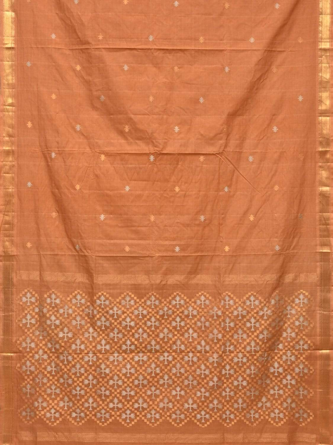 Light Orange Uppada Cotton Handloom Saree with Jamdani Pallu Design u1629