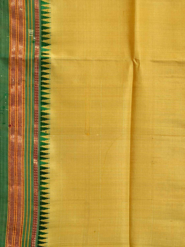 Light Yellow and Green Narayanpet Silk Handloom Plain Saree with Contrast Pallu Design np0242