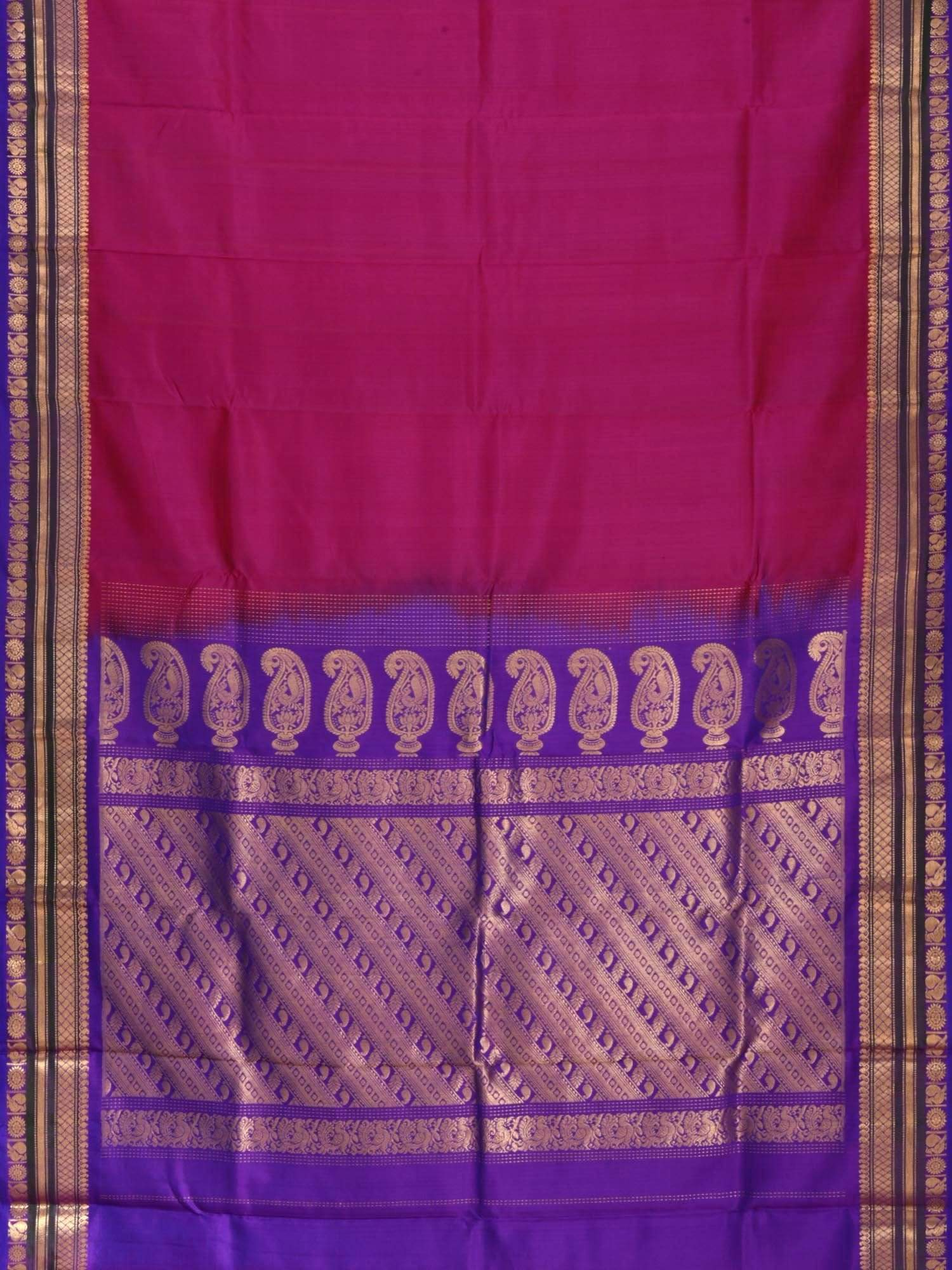 Magenta and Purple Gadwal Silk Handloom Saree with Mango Pallu Design G0155