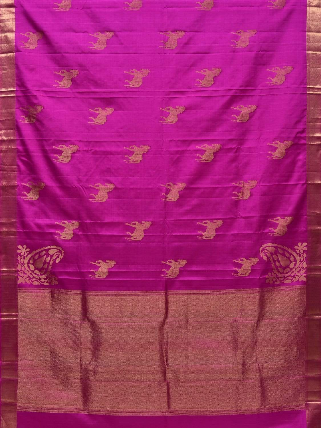 Magenta Kanchipuram Silk Handloom Saree with Horse Buta and Corners Mango Design k0495