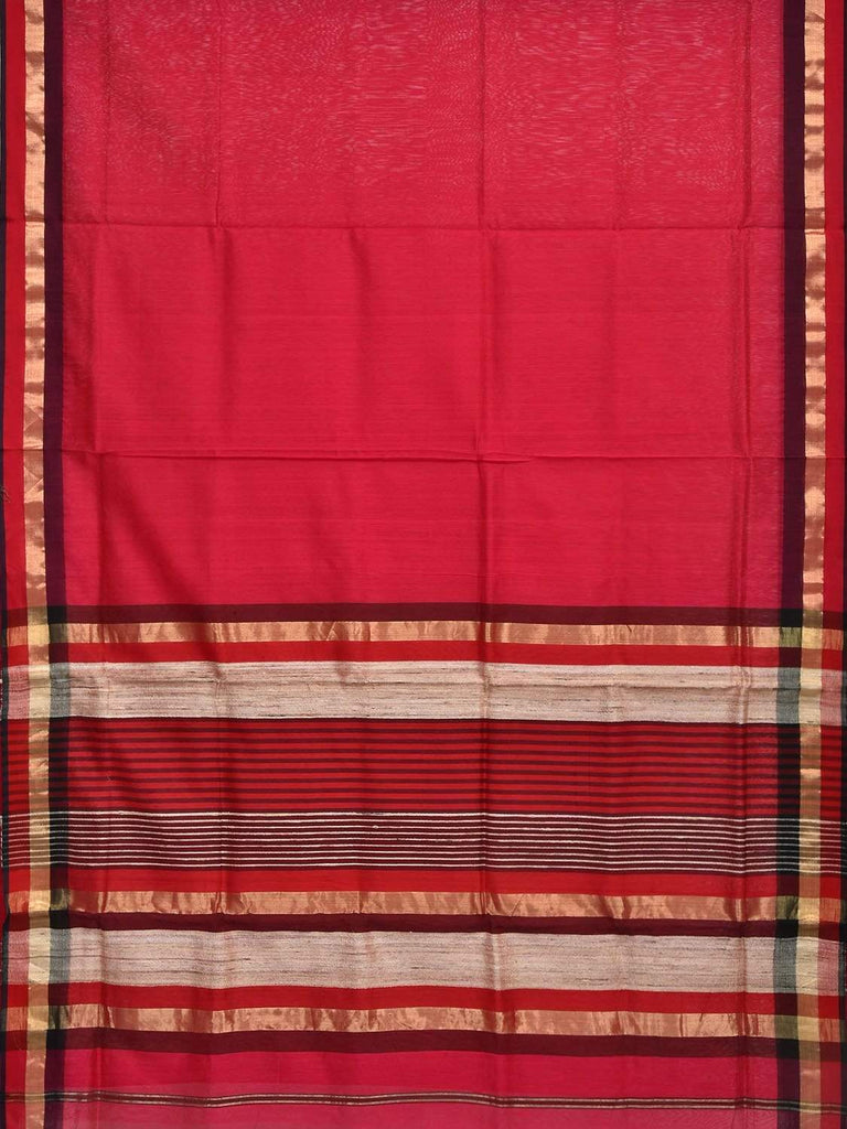 Magenta Maheshwari Cotton Silk Handloom Plain Saree with Strips Pallu Design m0083