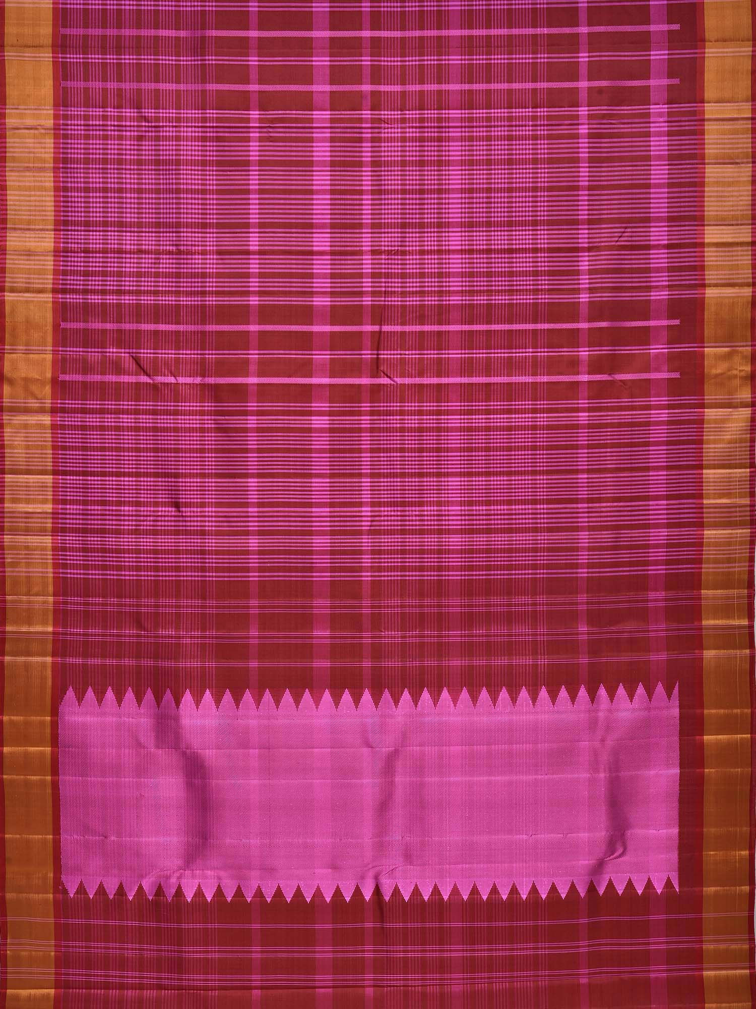 Maroon and Pink Kanchipuram Silk Handloom Saree with Checks Design k0433