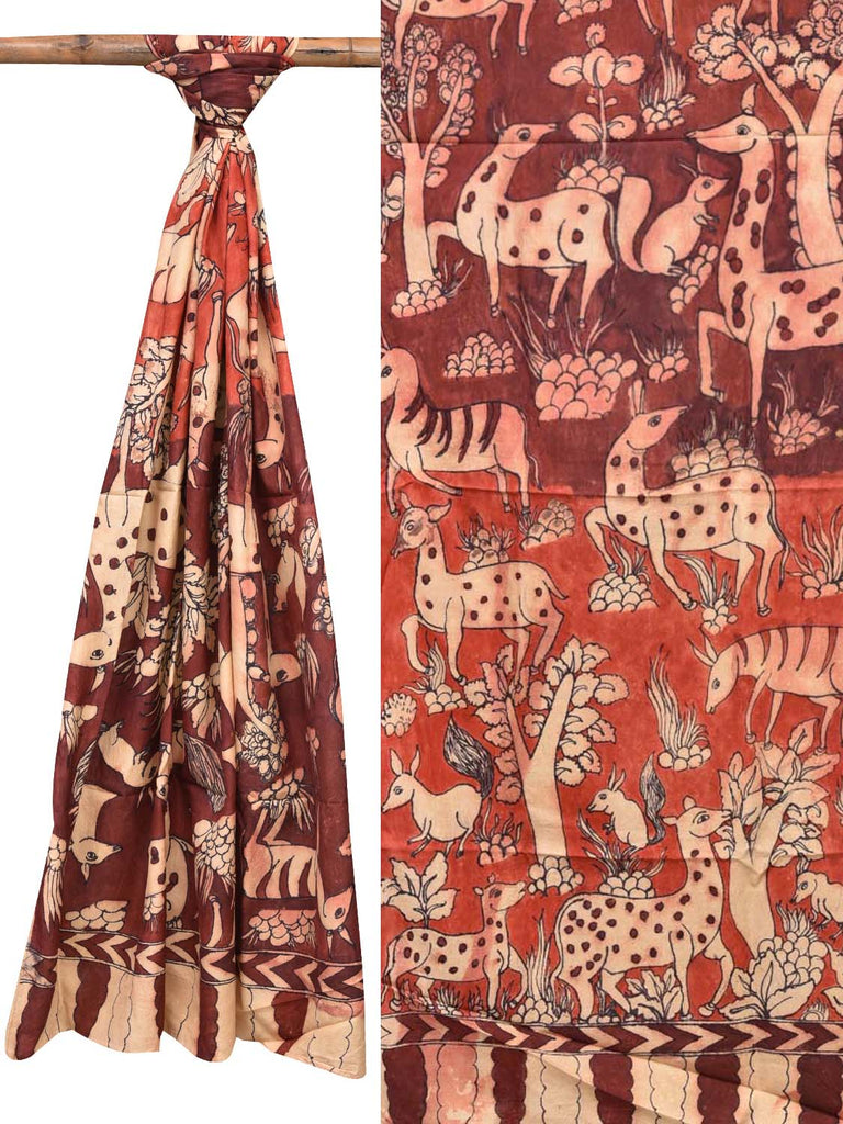 Maroon and Rust Kalamkari Hand Painted Tussar Handloom Dupatta with Animals Design ds2092