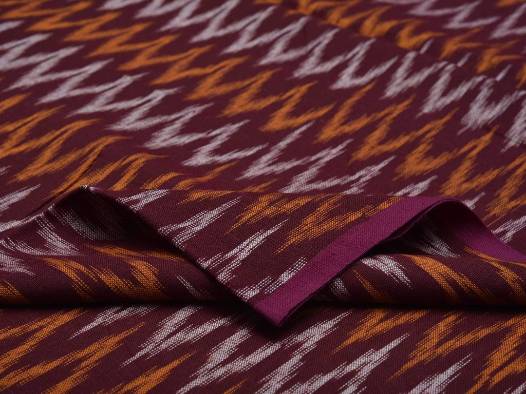 Maroon Ikat Cotton Handloom Fabric With Zig-Zag Design F0110